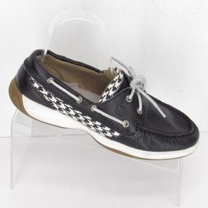 Sperry Top Sider Deck Shoes 8M Black White #042